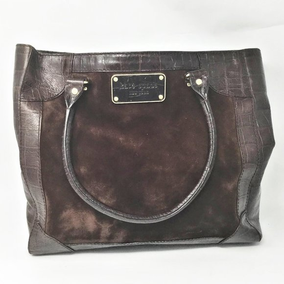 Kate Spade Brown Croc Leather & Suede Tote Handbag